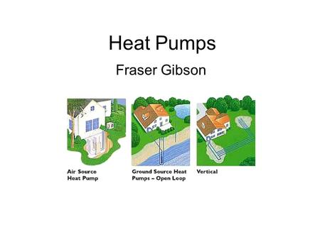 Heat Pumps Fraser Gibson. Objective To convey a basic understanding of different types of heat pumps Discuss advantages/disadvantages of heat pumps.