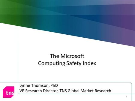 The Microsoft Computing Safety Index 1. Background Microsoft's objective: Quantify consumer perceptions of Internet safety, security and privacy Construct.