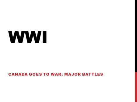 WWI CANADA GOES TO WAR; MAJOR BATTLES. FIRST Let's check-in.