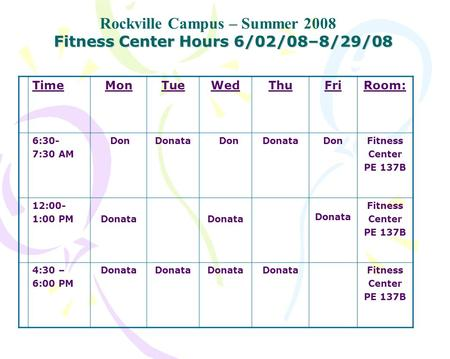 Fitness Center Hours 6/02/08–8/29/08 Rockville Campus – Summer 2008 TimeMonTueWedThuFriRoom: 6:30- 7:30 AM DonDonata DonDonataDonFitness Center PE 137B.