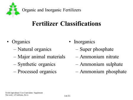 346.T1 Model Agricultural Core Curriculum: Supplement University of California, Davis Organic and Inorganic Fertilizers Fertilizer Classifications Organics.