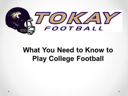 What You Need to Know to Play College Football. Is it for Me? Total commitment 20+ hours per week on top of academics Travel to away games – no weekends.