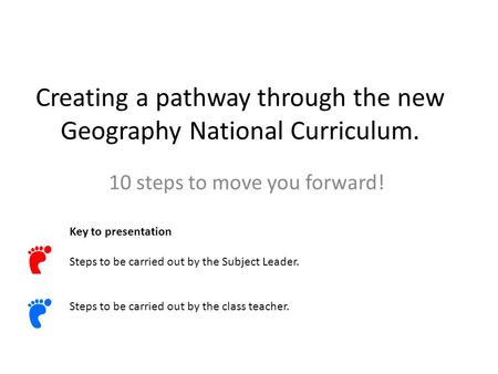 Creating a pathway through the new Geography National Curriculum. 10 steps to move you forward! Key to presentation Steps to be carried out by the Subject.