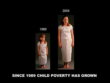 SINCE 1989 CHILD POVERTY HAS GROWN 1989 2004. Did you know? In 1989, approximately 1 in 7 Canadian children were living in poverty The Canadian government.