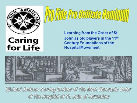 Learning from the Order of St. John as old players in the 11 th Century Foundations of the Hospital Movement.