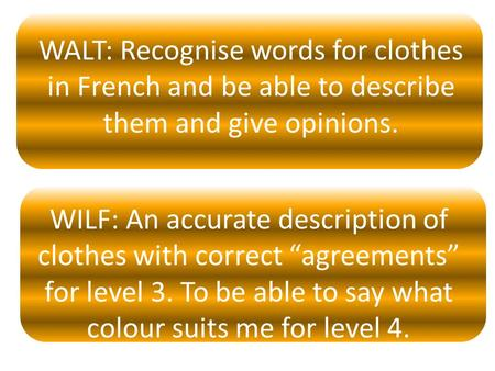 "WALT: Recognise words for clothes in French and be able to describe them and give opinions. WILF: An accurate description of clothes with correct ""agreements"""