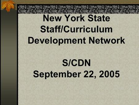 New York State Staff/Curriculum Development Network S/CDN September 22, 2005.