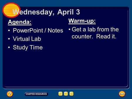 Wednesday, April 3 Agenda: PowerPoint / Notes Virtual Lab Study Time Warm-up: Get a lab from the counter. Read it.