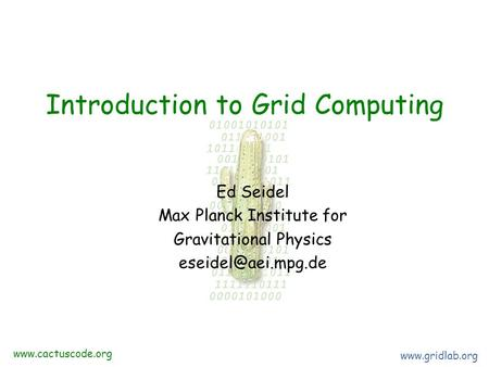 Introduction to Grid Computing Ed Seidel Max Planck Institute for Gravitational Physics