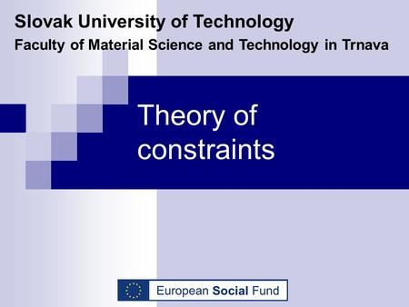 Theory of constraints Slovak University of Technology Faculty of Material Science and Technology in Trnava.