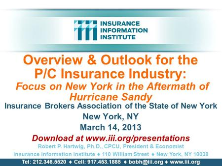 Overview & Outlook for the P/C Insurance Industry: Focus on New York in the Aftermath of Hurricane Sandy Insurance Brokers Association of the State of.