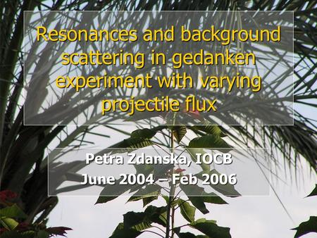 Petra Zdanska, IOCB June 2004 – Feb 2006 Resonances and background scattering in gedanken experiment with varying projectile flux.