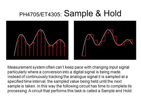 PH4705/ET4305: Sample & Hold Measurement system often can't keep pace with changing input signal particularly where a conversion into a digital signal.