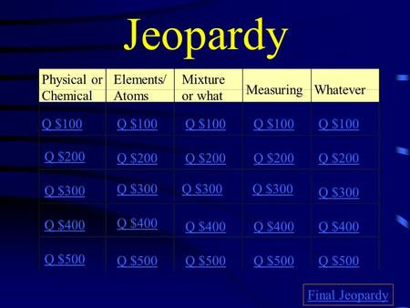 Jeopardy Physical or Chemical Elements/ Atoms Mixture or what Measuring Whatever Q $100 Q $200 Q $300 Q $400 Q $500 Q $100 Q $200 Q $300 Q $400 Q $500.