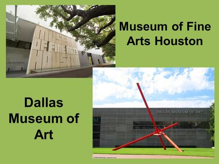 Museum of Fine Arts Houston Dallas Museum of Art.