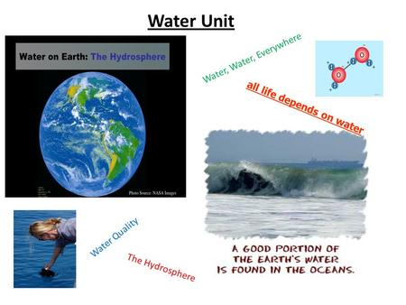 Water Unit Water, Water, Everywhere The Hydrosphere all life depends on water Water Quality.
