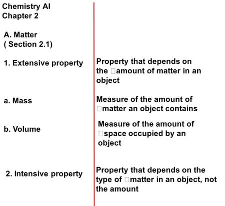 Chemistry AI Chapter 2 A. Matter ( Section 2.1) 1. Extensive property a. Mass b. Volume Property that depends on the amount of matter in an object Measure.