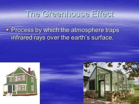 The Greenhouse Effect  Process by which the atmosphere traps infrared rays over the earth's surface.