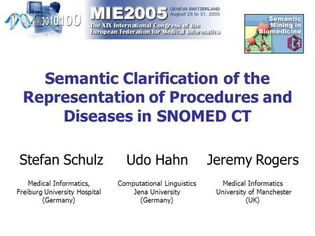 Semantic Clarification of the Representation of Procedures and Diseases in SNOMED CT Stefan Schulz Medical Informatics, Freiburg University Hospital (Germany)