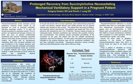 Prolonged Recovery from Succinylcholine Necessitating Mechanical Ventilatory Support in a Pregnant Patient Gregory Kozlov DO and David J. Lang DO Department.