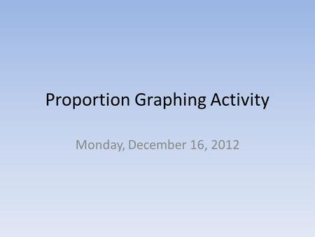Proportion Graphing Activity Monday, December 16, 2012.
