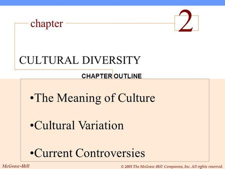 Chapter McGraw-Hill © 2005 The McGraw-Hill Companies, Inc. All rights reserved. CHAPTER OUTLINE The Meaning of Culture Cultural Variation Current Controversies.