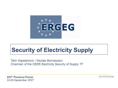 XIV th Florence Forum 24/25 September 2007 Tahir Kapetanovic / Nicolas Bonnesoeur Chairmen of the CEER Electricity Security of Supply TF C07-SOS-03-03a.
