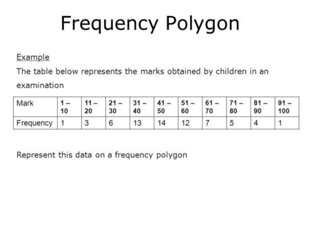 Frequency Polygon Example The table below represents the marks obtained by children in an examination Mark 1 – 10 11 – 20 21 – 30 31 – 40 41 – 50 51 –