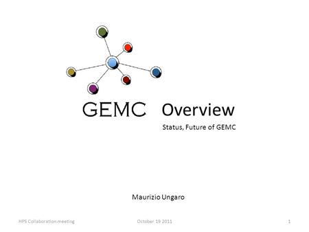 Overview Maurizio Ungaro 1HPS Collaboration meetingOctober 19 2011 Status, Future of GEMC.