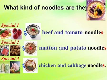 What kind of noodles are they? beef and tomato noodles. chicken and cabbage noodles. mutton and potato noodles. Special 1 Special 2 Special 3.