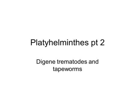 Platyhelminthes pt 2 Digene trematodes and tapeworms.