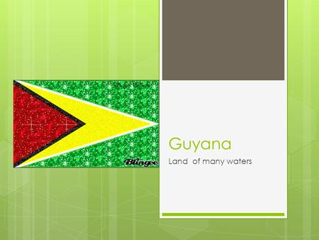 Guyana Land of many waters.  GUYANA The Golden Arrowhead, Guyanas National Flag has FIVE symbolic colors -- GREEN represents the <strong>agricultural</strong> and forested.