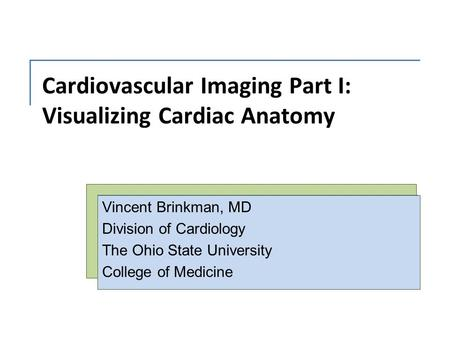Cardiovascular Imaging Part I: Visualizing Cardiac Anatomy Vincent Brinkman, MD Division of Cardiology The Ohio State University College of Medicine.