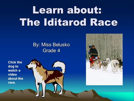 Learn about: The Iditarod Race By: Miss Belusko Grade 4 Click the dog to watch a video about the race.