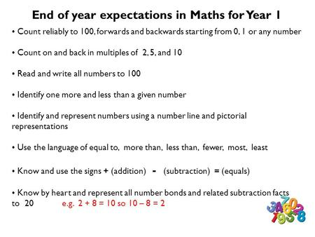 End of year expectations in Maths for Year 1 Count reliably to 100, forwards and backwards starting from 0, 1 or any number Count on and back in multiples.