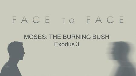 "MOSES: THE BURNING BUSH Exodus 3. Pop Theology ""God showed up…"" –It demeans the work of God in preparation –It assumes that God was busy elsewhere –It."