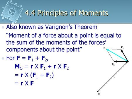 4.4 Principles of Moments Also known as Varignon's Theorem