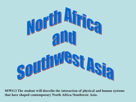 SSWG3 The student will describe the interaction of physical and human systems that have shaped contemporary North Africa/Southwest Asia.