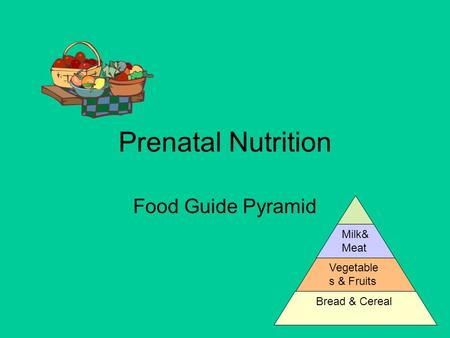 Prenatal Nutrition Food Guide Pyramid Milk& Meat Vegetable s & Fruits Bread & Cereal.