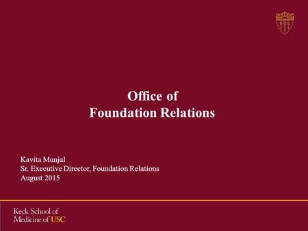 Office of Foundation Relations