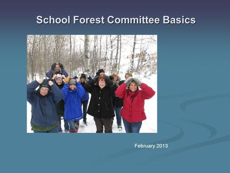 School Forest Committee Basics February 2013. Why Have A School Forest Committee? School Forests are accountable to the DNR for:  Educational activities.
