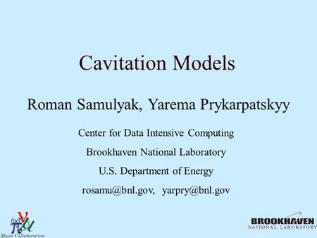 Cavitation Models Roman Samulyak, Yarema Prykarpatskyy Center for Data Intensive Computing Brookhaven National Laboratory U.S. Department of Energy