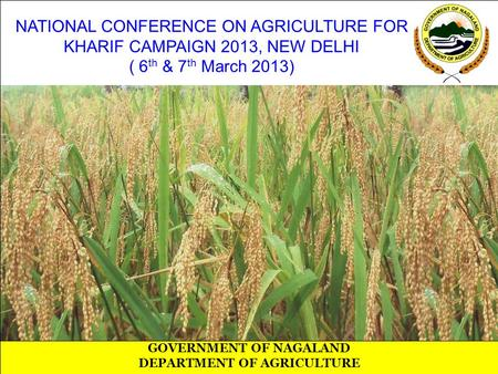 NATIONAL CONFERENCE ON AGRICULTURE FOR KHARIF CAMPAIGN 2013, NEW DELHI ( 6 th & 7 th March 2013) GOVERNMENT OF NAGALAND DEPARTMENT OF AGRICULTURE.