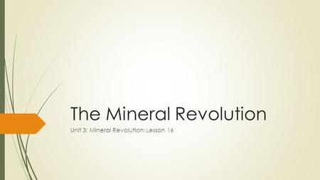 The Mineral Revolution