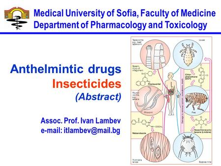 Assoc. Prof. Ivan Lambev   Medical University of Sofia, Faculty of Medicine Department of Pharmacology and Toxicology Anthelmintic.