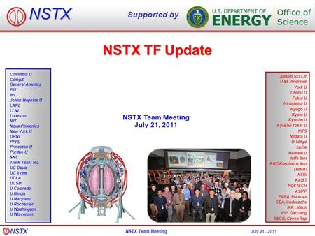 NSTX Team Meeting July 21,, 2011 NSTX TF Update NSTX Team Meeting July 21, 2011 NSTX Supported by Culham Sci Ctr U St. Andrews York U Chubu U Fukui U Hiroshima.