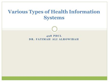 498 PHCL DR. FATIMAH ALI ALROWIBAH Various Types of Health Information Systems.