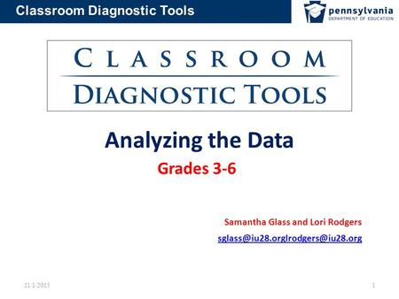 Classroom Diagnostic Tools Analyzing the Data Grades 3-6 Samantha Glass and Lori Rodgers 11/1/2015 1.