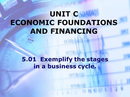 1 UNIT C ECONOMIC FOUNDATIONS AND FINANCING 5.01 Exemplify the stages in a business cycle.