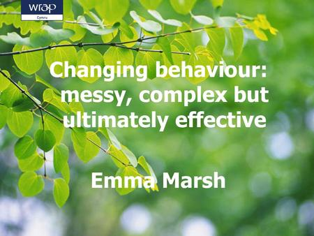 Changing behaviour: messy, complex but ultimately effective Emma Marsh.